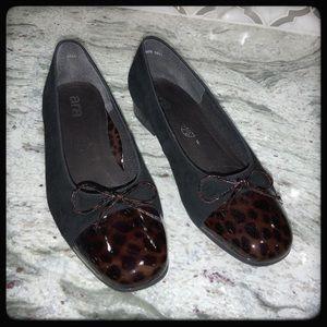 📂ARA Shoe. Ballet Flat in Blk Suede & Animal  8
